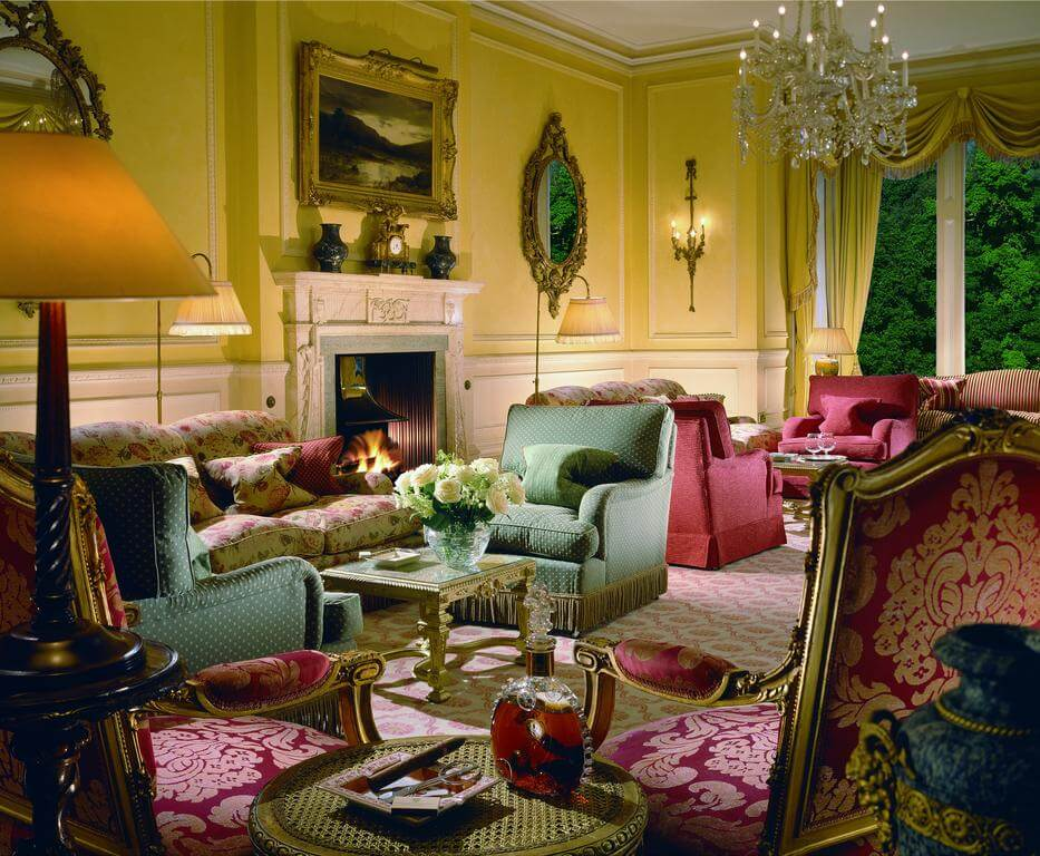 in the lively living room of Inverlochy Castle