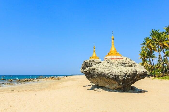 Ngwe Saung golden pagodas myanmar
