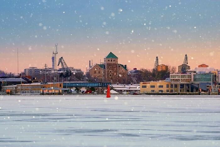 Landscape Ice Sea Turku's Castle Port Turku finland