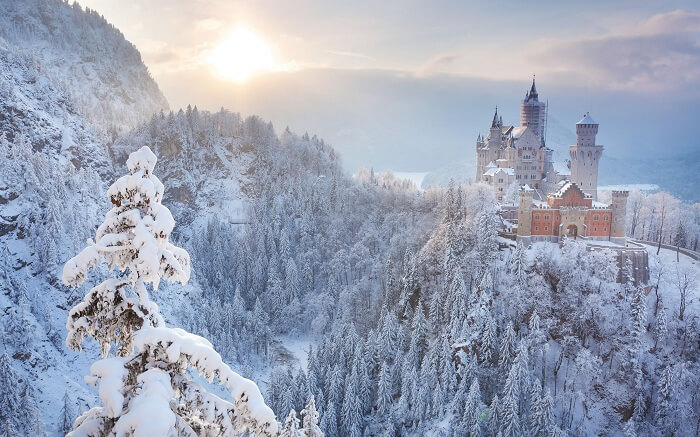 A beautiful view of Neuschwanstein Castle during winter