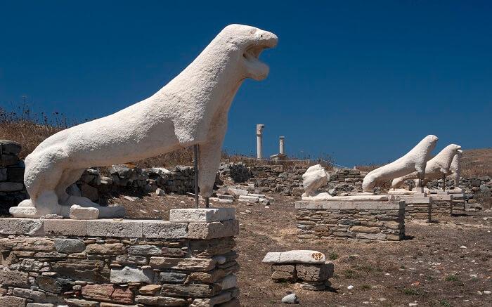 Terrace of the Lions, Delos island in Cyclades in Greece