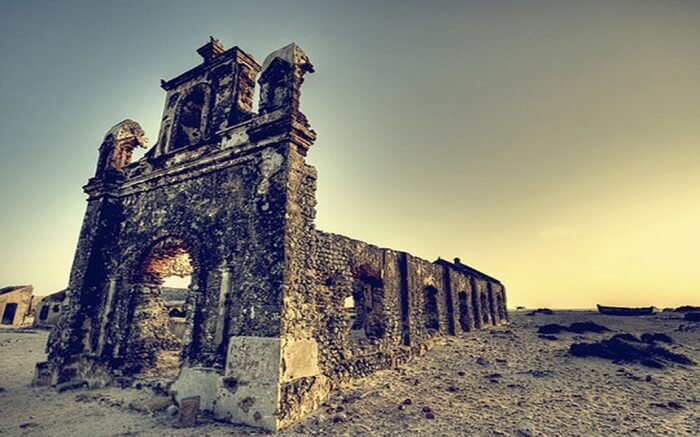 A landscape view of ruins in Dhanushkodi Ghost Town