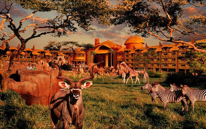 Animals outside Disney's Animal Kingdom Lodge in Orlando