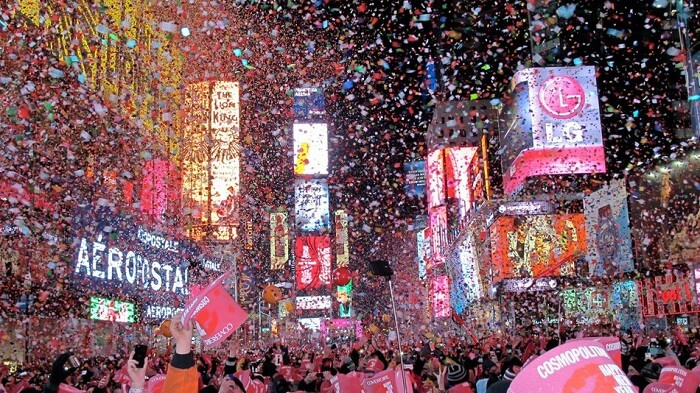 watch the ball drop at Times Square