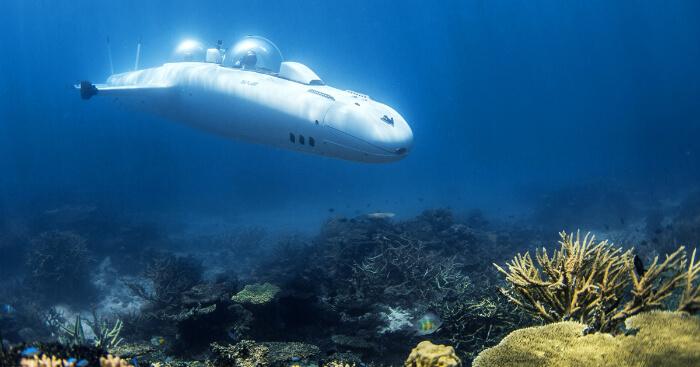 a submarine underwater