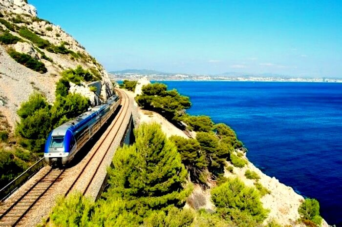 Train route to Marseille France
