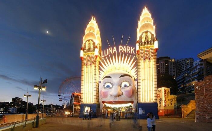 Luna Park during Vivid Sydney