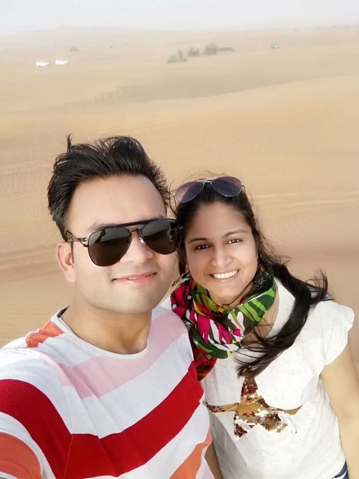 ashish singhal dubai honeymoon trip: during desert safari