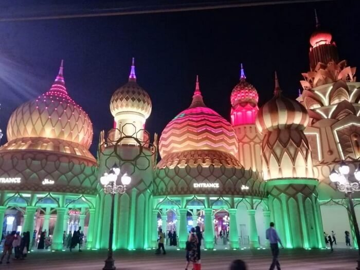 ashish singhal dubai honeymoon trip: global village at night
