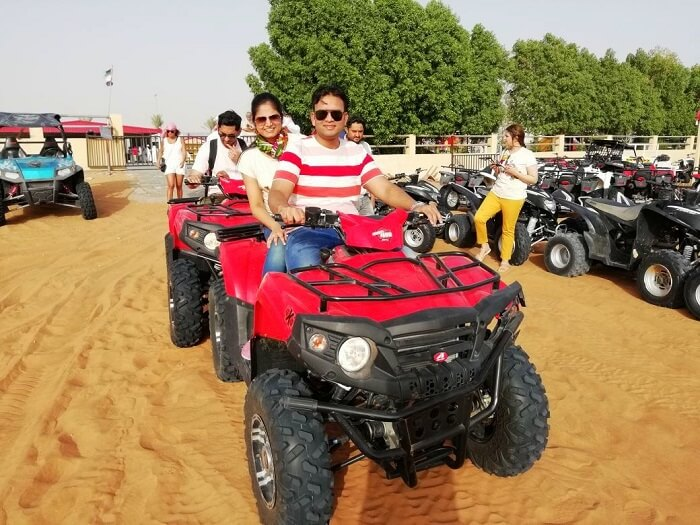 ashish singhal dubai honeymoon trip: quad biking