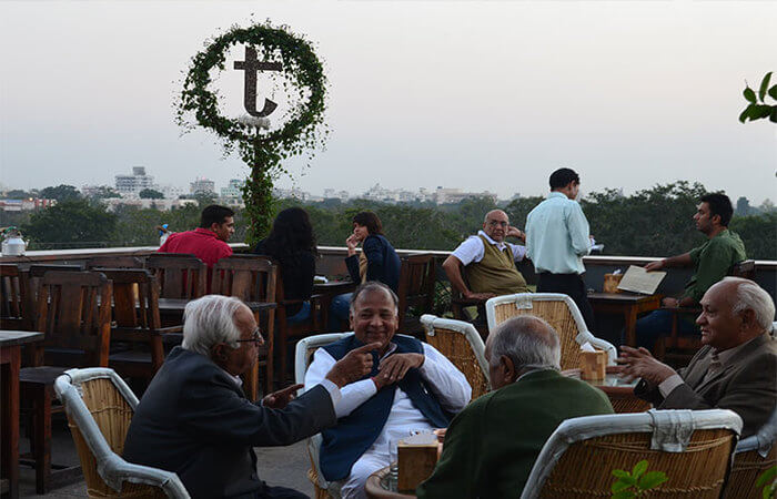 Terrace seating at Tapri