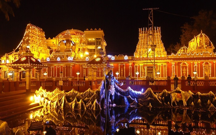 Beautifully lit Kudroli Gokarnath Temple
