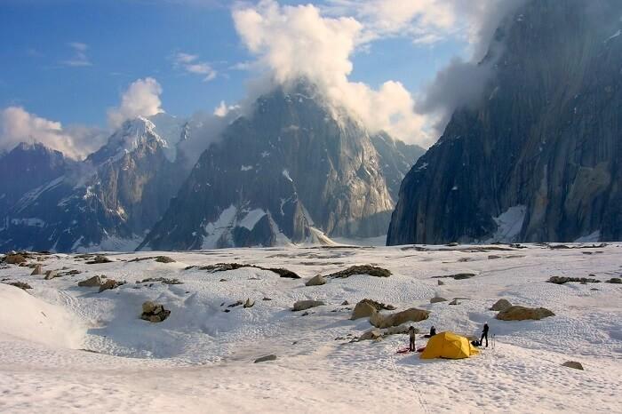Camp at Backside Glacier Lake in Denali National Park