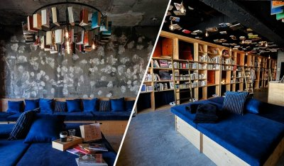 Library hostel in Japan