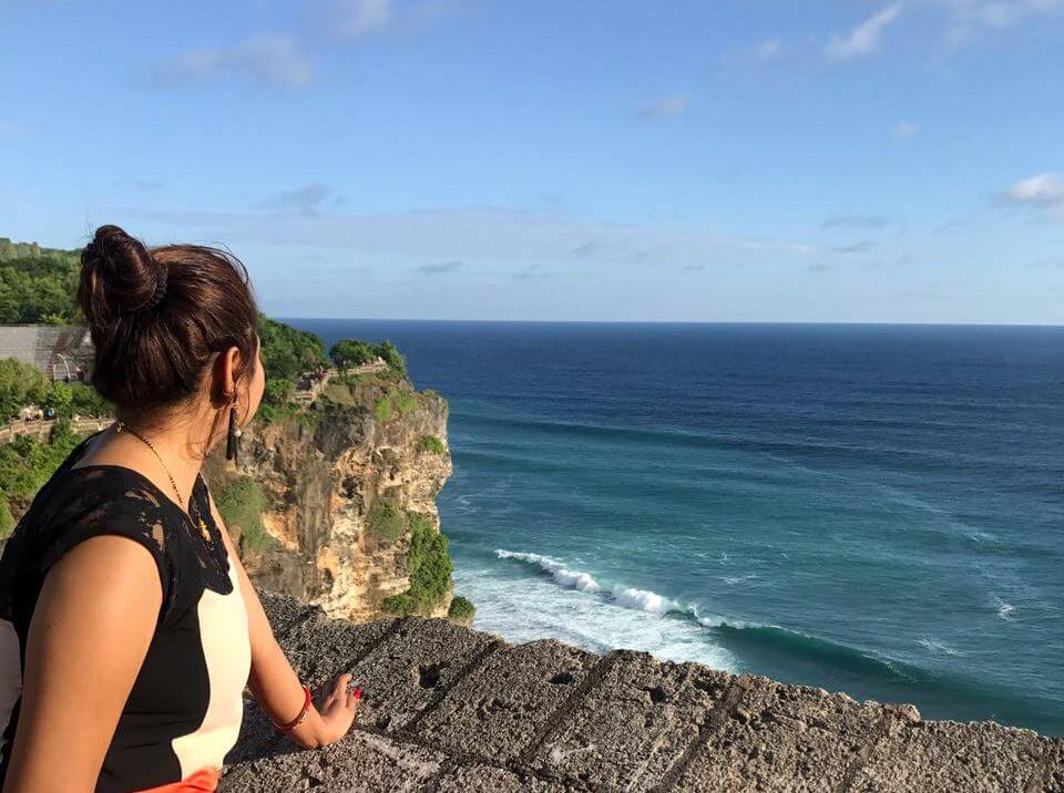 woman looking at the sea in bali
