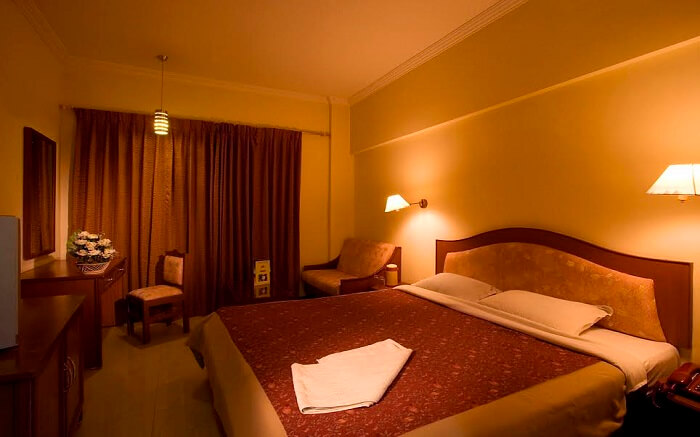 Inside a room of Hotel Preethi Classic Towers