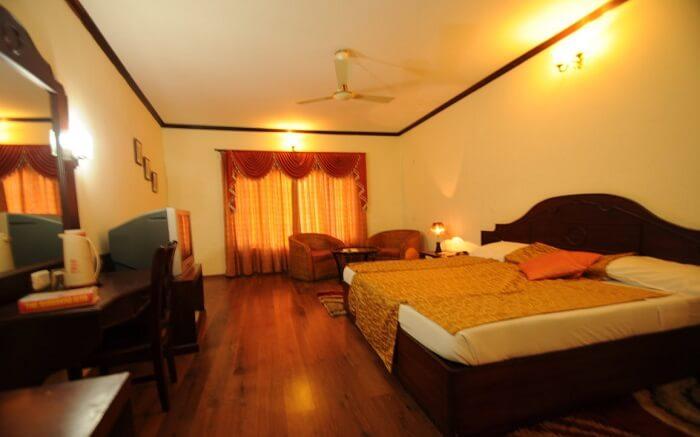 Inside a room of Velan Hotel s