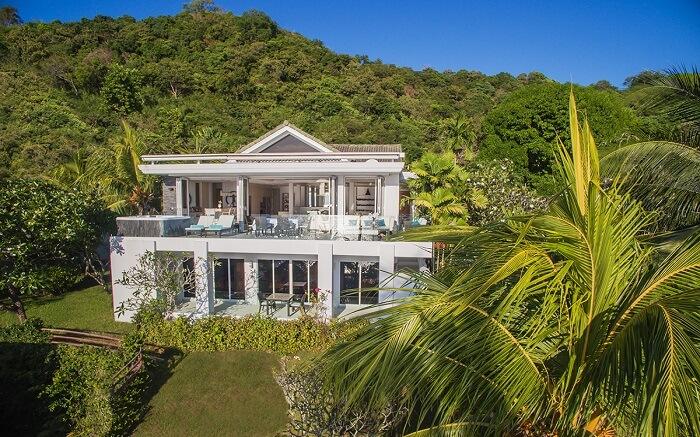 Nirvana Beach front villa amid hills
