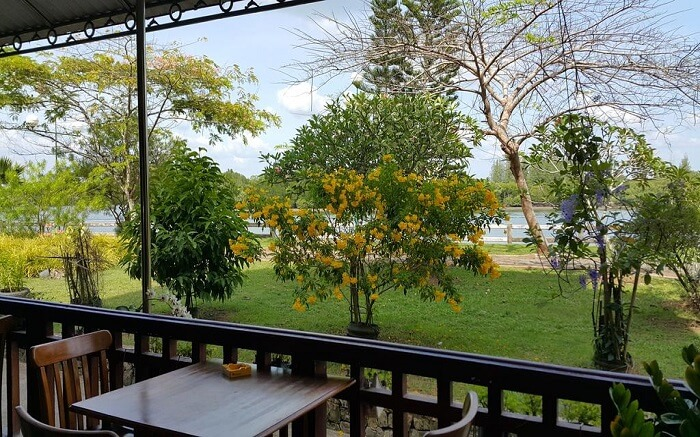Outdoor sitting area of Krabi River Hotel