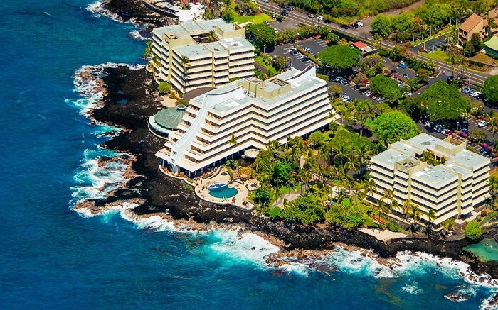 Royal Kona Resort on the shores from far