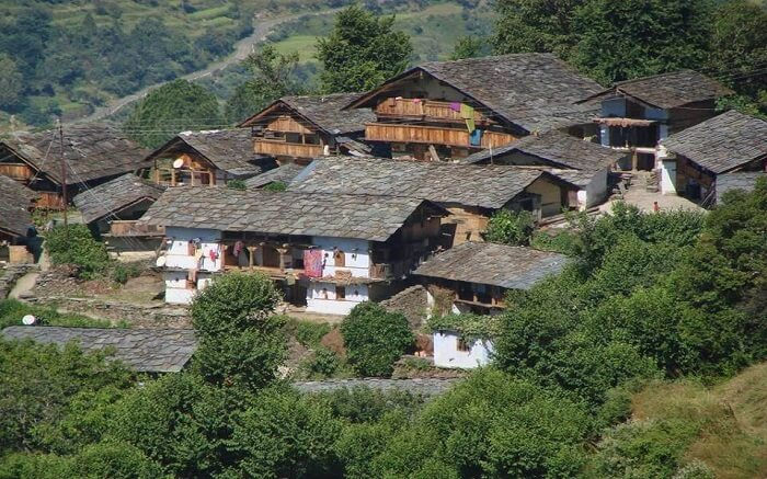 Uttarakhand slant roof homes in Mandal