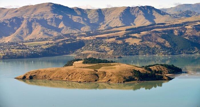 a small island amid a green lake