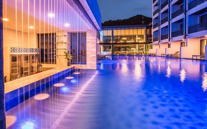 beautifully lit pool area of Bluesotel Krabi