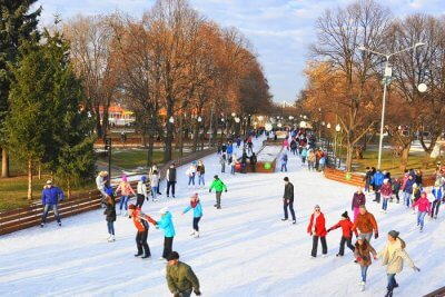 ice skating Gorky Park moscow russia cover