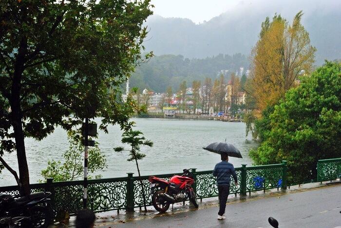 naini lake nainital in monsoon rain