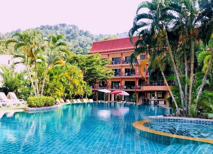 pooja thailand trip hotel pool