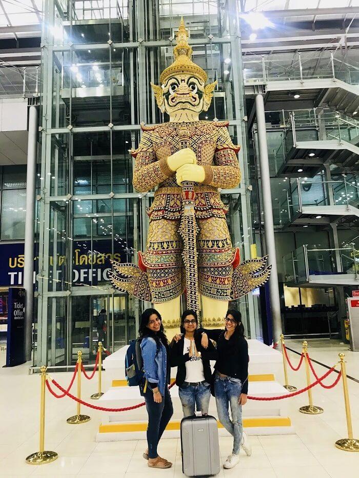 pooja thailand trip thai airport