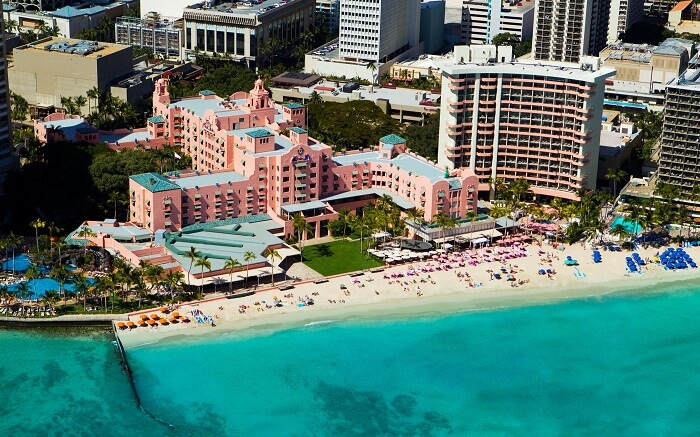 view of The Royal Hawaiian from above