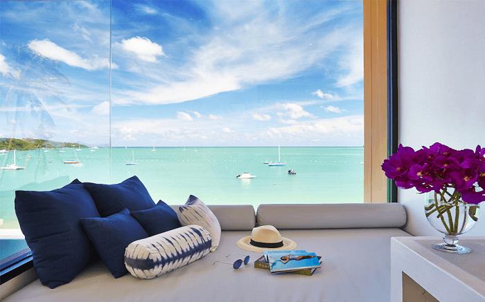 views of blue ocean from Bandara Villas room