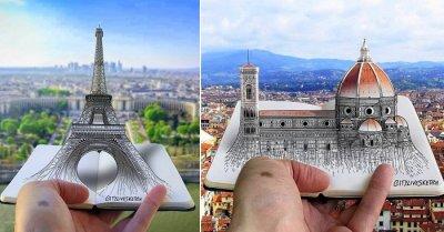 3D Sketches of Famous European Landmarks