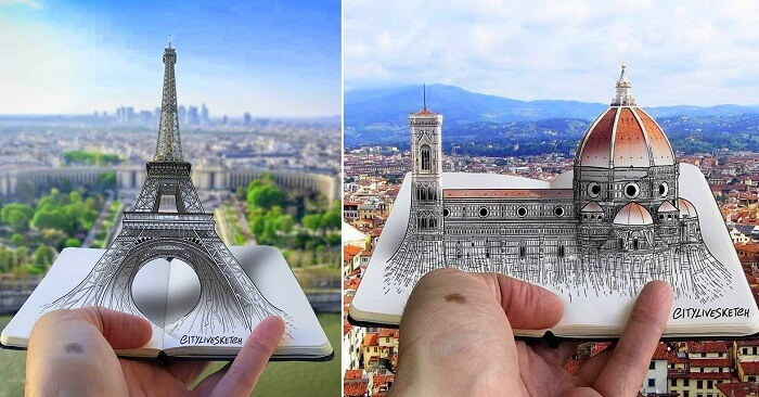 3D Sketches of Famous European Landmarks