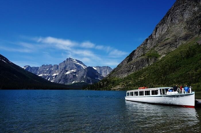 Scenic boat tour in Glacier National Park