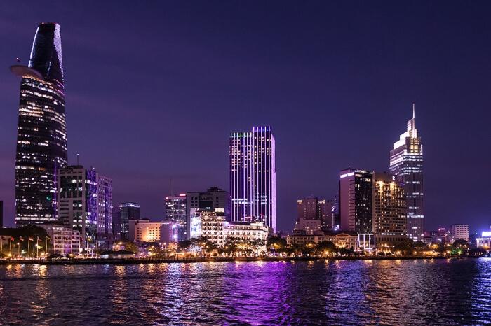 Ho Chi Minh city skyline at night