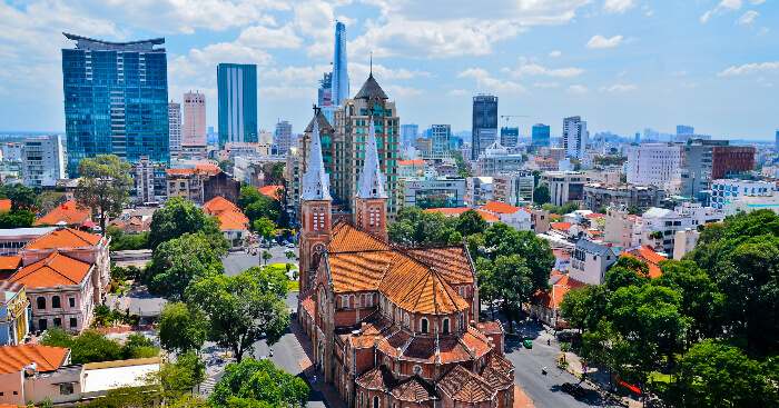 Bird eye view of Ho Chi Minh Cityin Vietnam