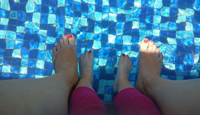 in villa pool