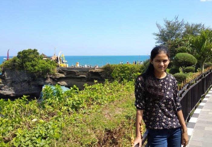 woman standing against beach in bali