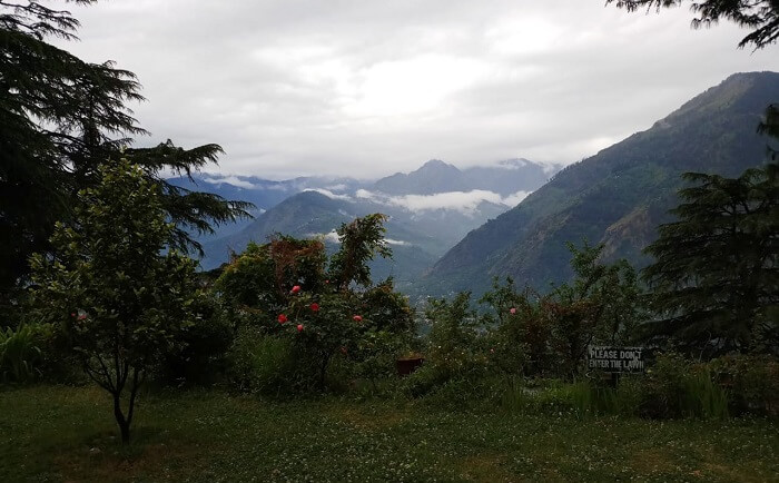 view of mountains from park in kufri