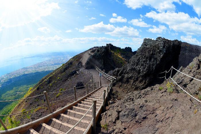 A walk track on Mt Vesuvius in Naples, Italy