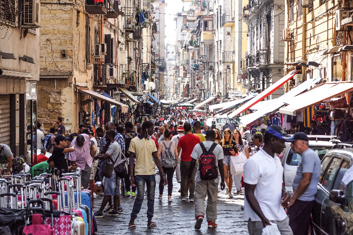 A busy street market in Naples, Italy