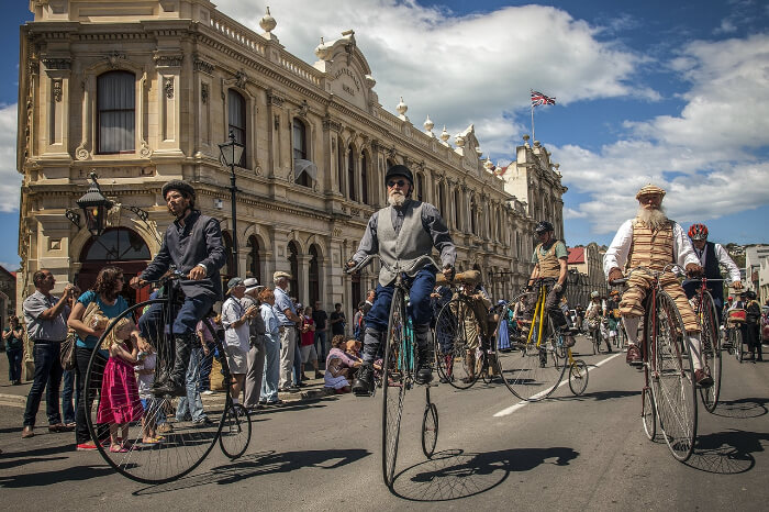 Men on Penny Farthing at the Victorian Fete in NZ