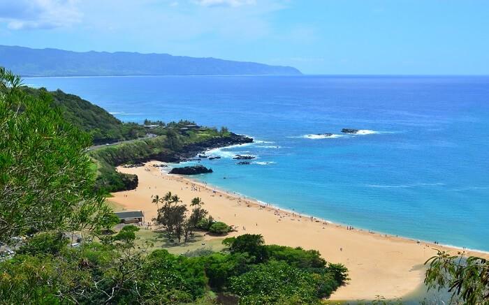 Waimea beach with beautiful views