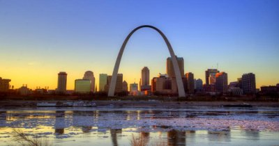 A view of Gateway Arch Park in St. Louis at sunset
