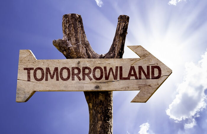tomorrowland on wooden sign