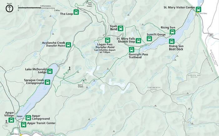 map glacier national park