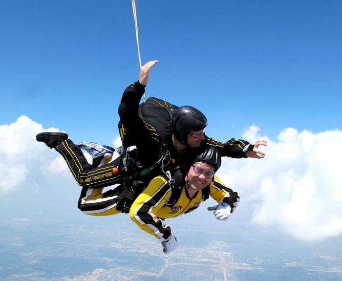 Two men posing while skydiving