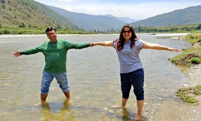rohit bhutan family trip travelogue chilling in river